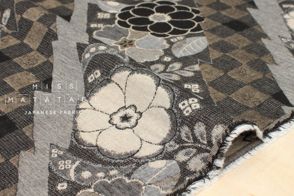 Japanese Fabric - yarn dyed woven Retro Wa jacquard - black, latte