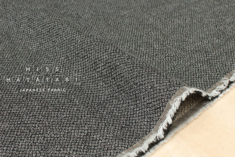 Japanese Fabric - yarn dyed woven dots jacquard - black, latte
