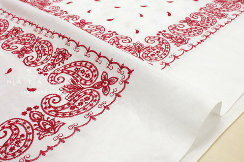 Embroidered bandana pattern - red, white