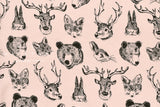 Kokka Trefle Woodland Animals knit - pink