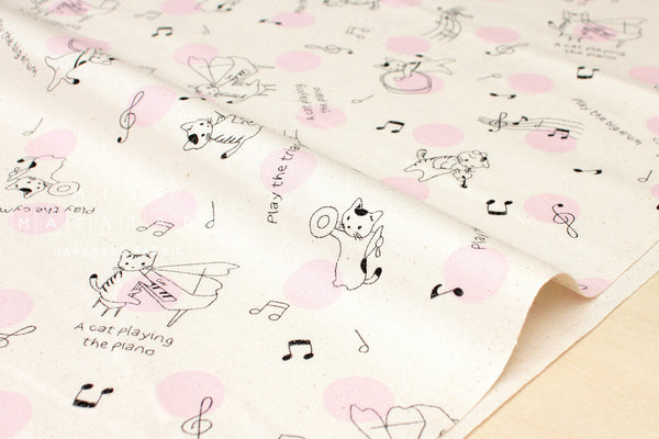 Lecien Music Cat - pink, black - fat quarter
