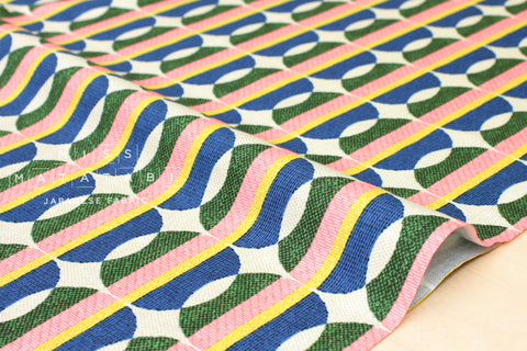 Vintage Interior - blue, green, yellow, pink - fat quarter