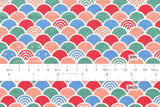Japanese Fabric - waves - red, peach, teal, blue