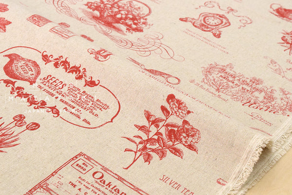 Kei Fabric Mattina Di Vacanza - vintage gardening - red, natural