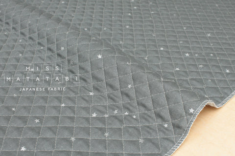 Kobayashi starry pre-quilted double gauze - grey, metallic silver