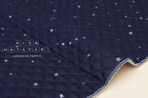 Kobayashi starry pre-quilted double gauze - navy blue, metallic silver