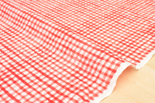 Seersucker tiny gingham lawn - red