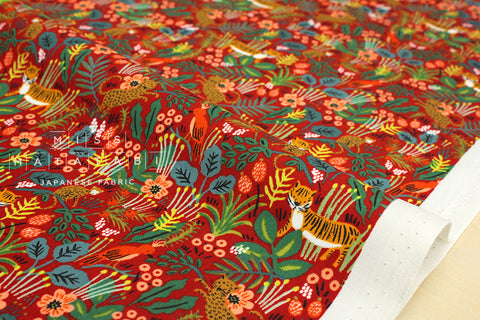 Cotton + Steel Menagerie - jungle - red
