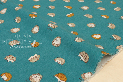 Hedgehogs canvas - teal green