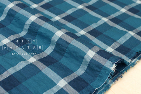 Yarn dyed textured plaid - teal, blue