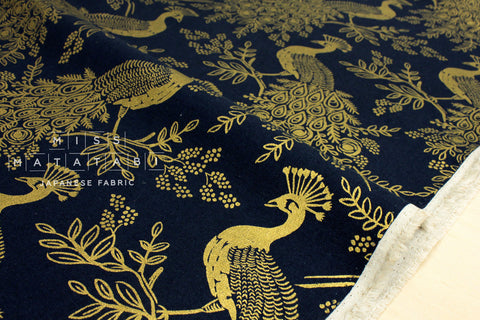Cotton + Steel Menagerie canvas - royal peacock - navy