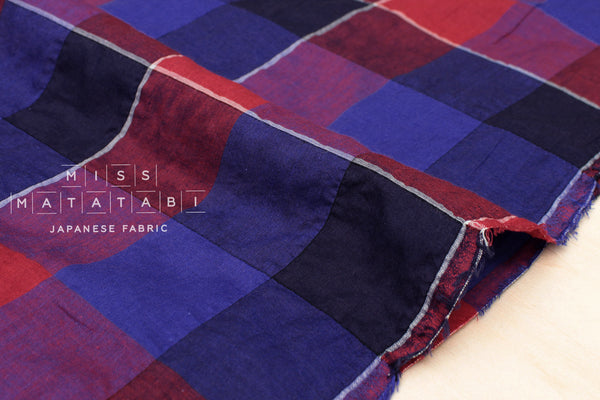 Yarn dyed textured plaid - blue, red