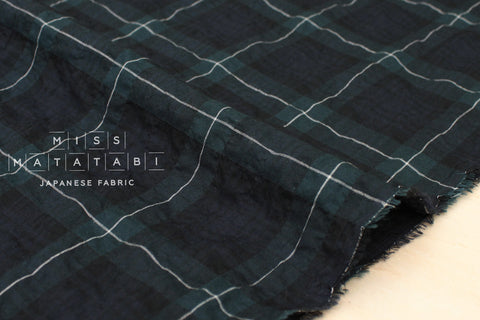 Yarn dyed textured plaid - green, navy
