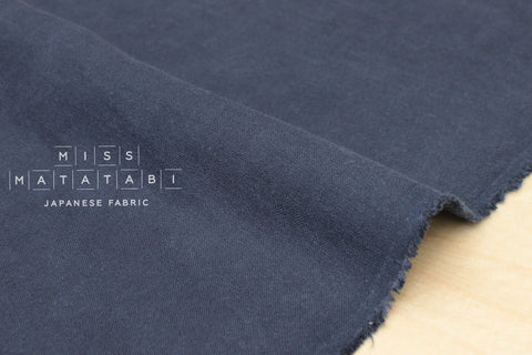 100% brushed linen - blue