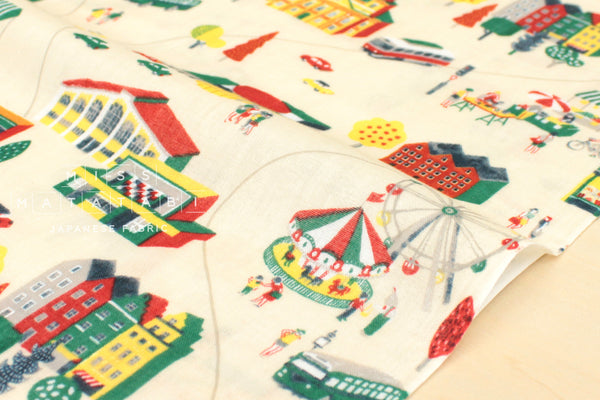 Double gauze Fairground - red, green, yellow
