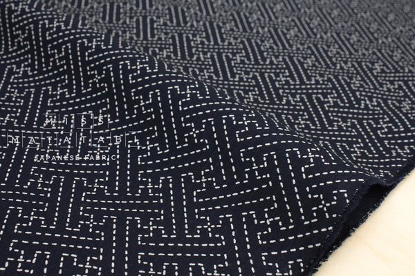 Japanese Fabric - sashiko sayagata - navy blue