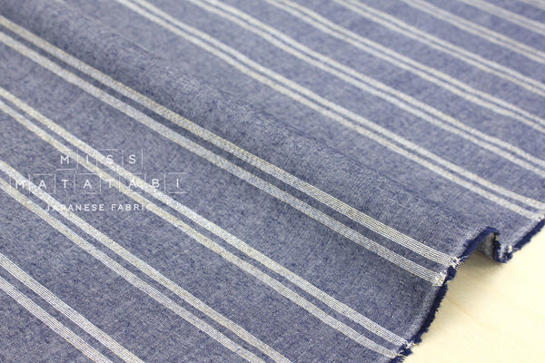 Metallic stripes chambray - blue, silver, gold