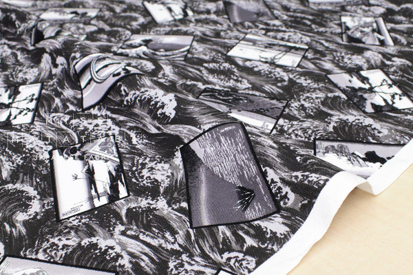 Japanese Fabric Hokusai Monochrome canvas