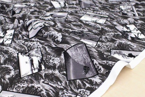 Japanese Fabric Hokusai Monochrome canvas - fat quarter