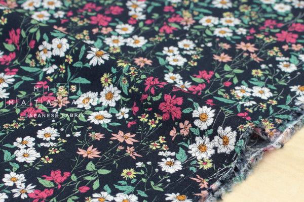 Daisy Meadow rayon lawn - blue, pink, green