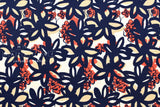 Bold Flowers - navy blue, coral orange