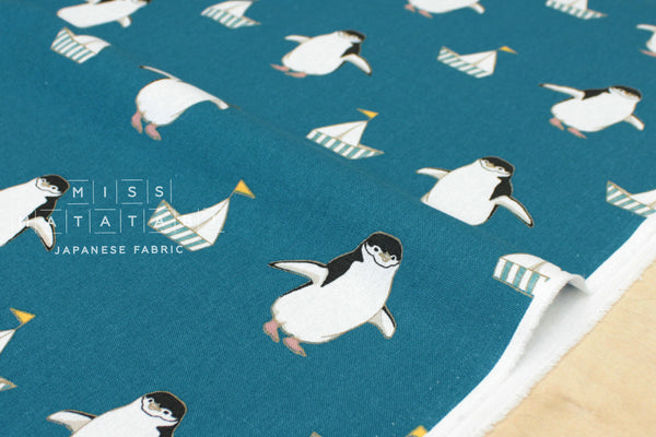 Preppy Penguin canvas -teal - fat quarter