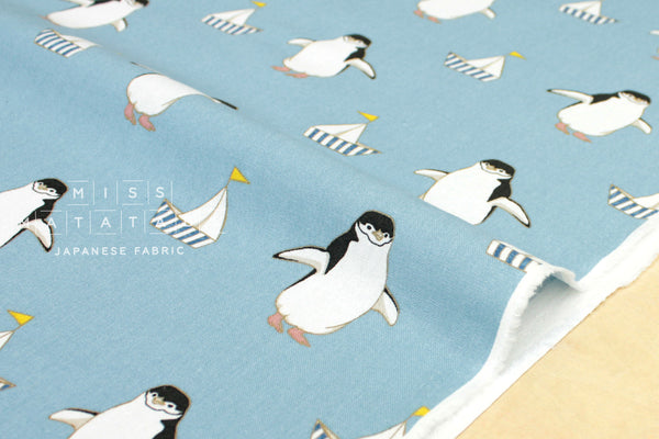 Preppy Penguin canvas - light blue - fat quarter