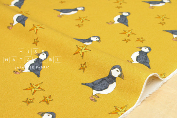 Puffin canvas - mustard - fat quarter