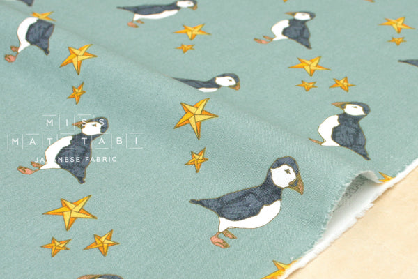 Puffin canvas - sage - fat quarter