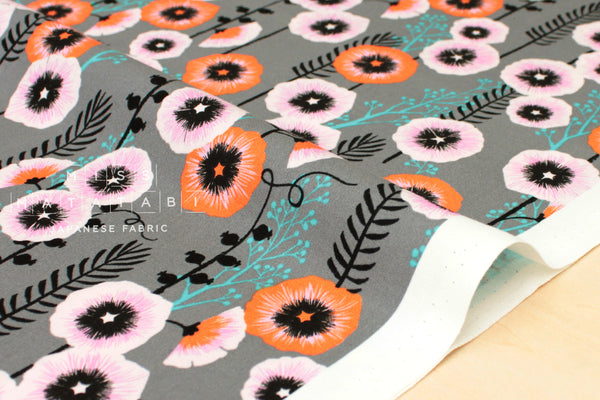 Cotton + Steel Santa Fe - hollyhocks - grey