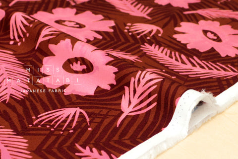 Cotton + Steel Poolside rayon - palm springs bouquet - pink