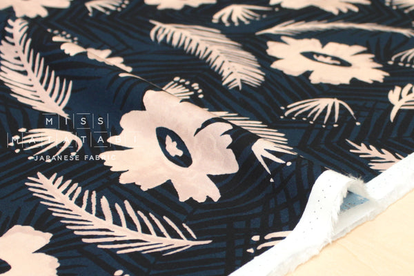 Cotton + Steel Poolside rayon - palm springs bouquet - blue