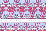 Damask cats - cotton crepe - pink, cornflower