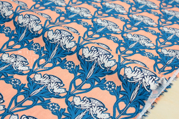 Damask cats - cotton crepe - peach, blue