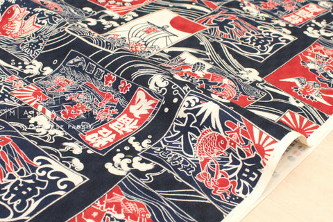 Japanese Fabric Seven Lucky Gods - indigo blue, red, cream