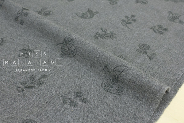 Kokka embroidered brushed twill - tori to hana - grey