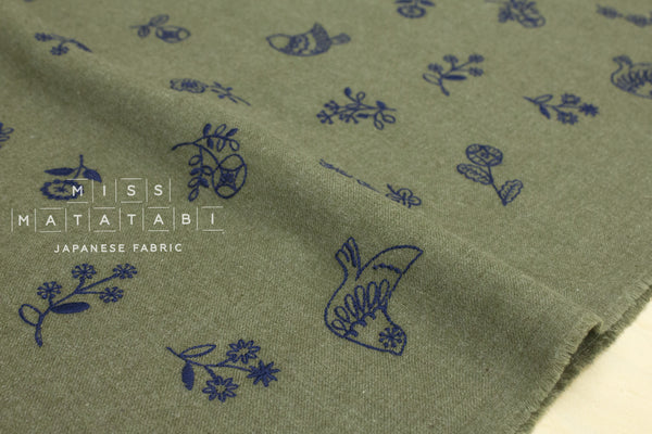 Kokka embroidered brushed twill - tori to hana - olive green