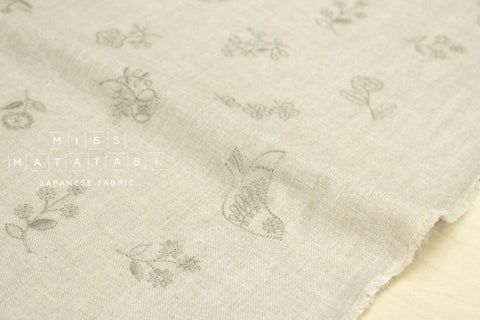 Kokka embroidered brushed twill - tori to hana - natural