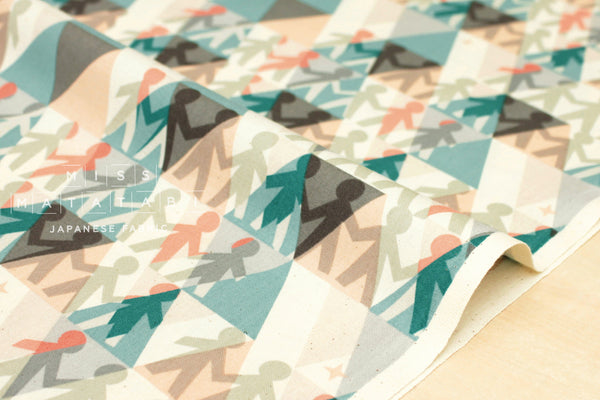 Cotton + Steel Paper Cuts - paper people - spearmint - fat quarter