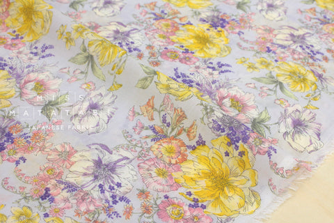 Chiffon voile floral - lavender, pink, yellow