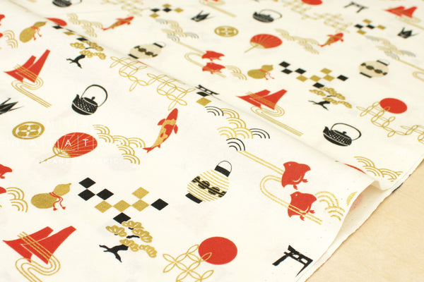 Japanese Fabric Golden Japan Metallic - A