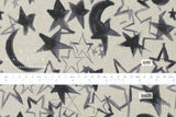 100% linen moon and stars - black, grey