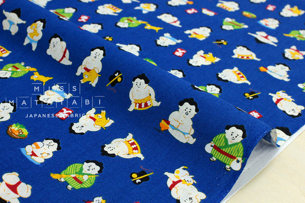 Japanese Fabric - sumo and cat - blue