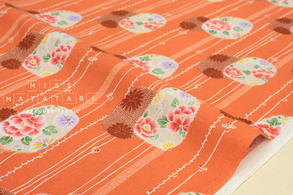 Japanese Fabric wagara peonies - orange