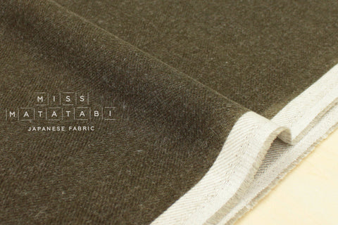 Nani Iro Japanese Fabric Kokka Brushed Herringbone - khaki
