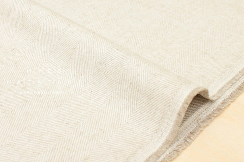 Nani Iro Japanese Fabric Kokka Brushed Herringbone - natural