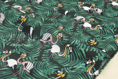 Handsome flamingo - cotton crepe - forest green, peach, mustard