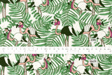 Handsome flamingo - cotton crepe - green, peach, pink