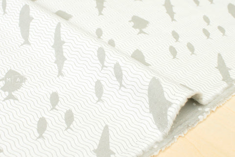 Kokka Toy Fabrics - fish - light gray