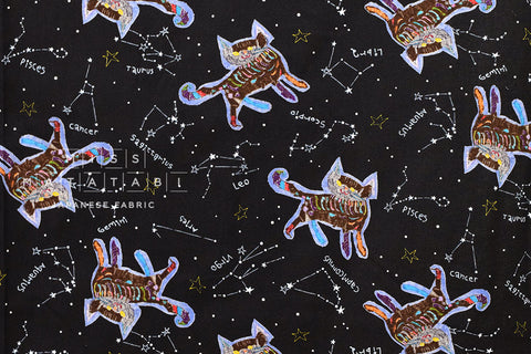 Constellations Skeleton Cats - black